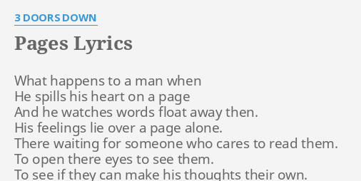 Pages Lyrics By 3 Doors Down What Happens To A