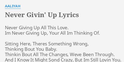 Im giving up on love lyrics