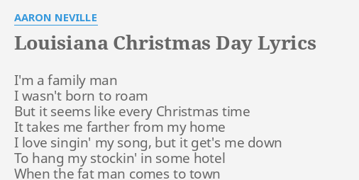 louisiana christmas day lyrics by aaron neville im a family man - Please Come Home For Christmas Aaron Neville