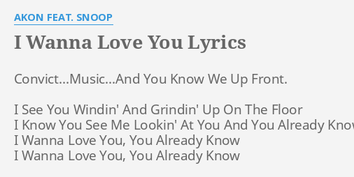 I Wanna Love You Lyrics By Akon Feat Snoop Convict Music And You Know We