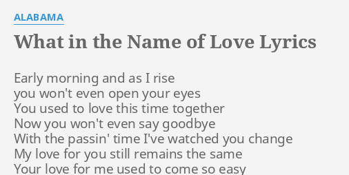 in the name of love with lyrics