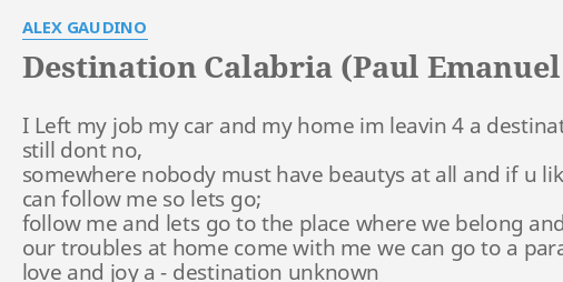 DESTINATION CALABRIA (PAUL EMANUEL REMIX)