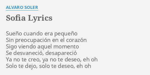 Alvaro Soler Sofia Lyrics Spanish