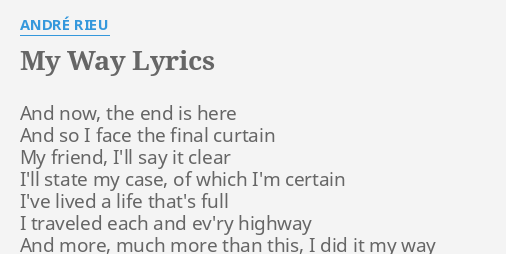 my way lyrics