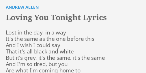 loving you tonight lyrics