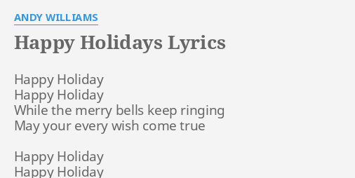 Image result for happy holidays lyrics
