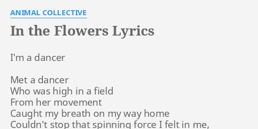 """IN THE FLOWERS"" LYRICS by ANIMAL COLLECTIVE: I'm a dancer Met."