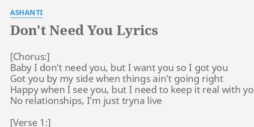 So i need you lyrics