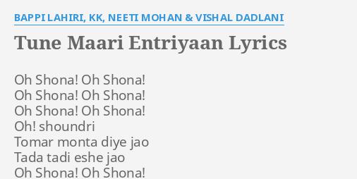 Tune Maari Entriyaan Lyrics Meaning