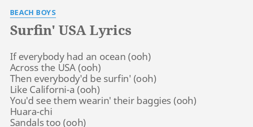 Surfin Usa Lyrics By Beach Boys If Everybody Had An