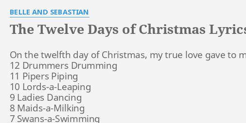 12 Days Of Christmas Lyrics Printable.The Twelve Days Of Christmas Lyrics By Belle And Sebastian