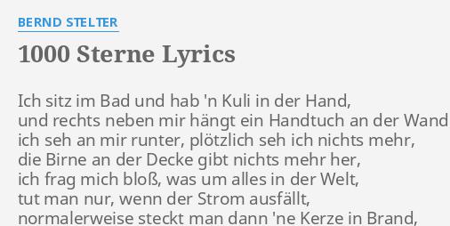 1000 Sterne Lyrics By Bernd Stelter Ich Sitz Im Bad