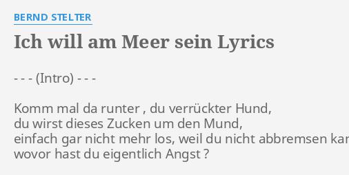 Ich Will Am Meer Sein Lyrics By Bernd Stelter