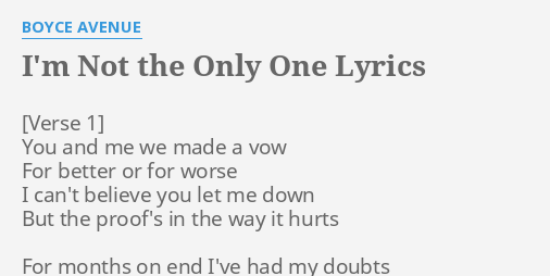 Tell me im the only one lyrics