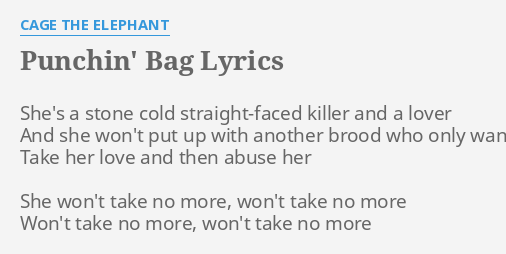 Punchin Bag Lyrics By Cage The Elephant She S A Stone Cold