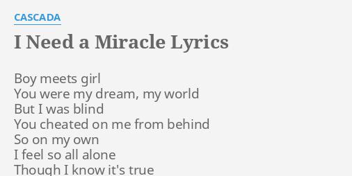 i need a miracle lyrics