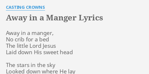 photo regarding Lyrics to Away in a Manger Printable known as Absent Within A MANGER\