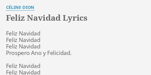 feliz navidad lyrics by celine dion feliz navidad feliz navidad feliz navidad lyrics by celine dion