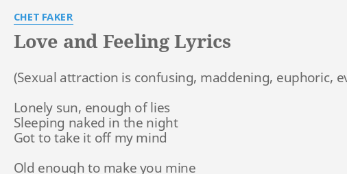 loving that You feeling lyrics got
