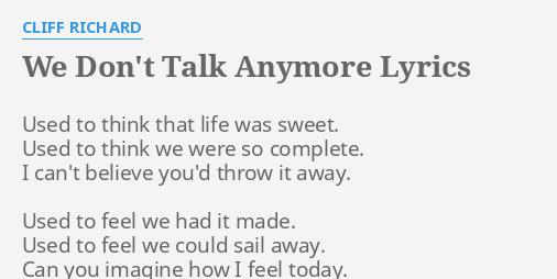 we dont talk