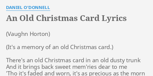 an old christmas card lyrics by daniel o donnell there s an old