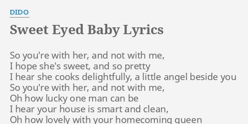 Lyrics baby oh sweet baby you re the one