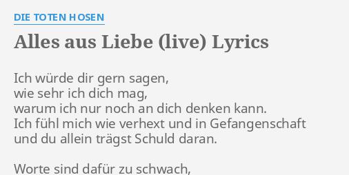 Alles Aus Liebe Live Lyrics By Die Toten Hosen Ich Würde Dir Gern