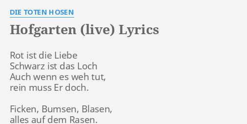 Hofgarten Live Lyrics By Die Toten Hosen Rot Ist Die Liebe