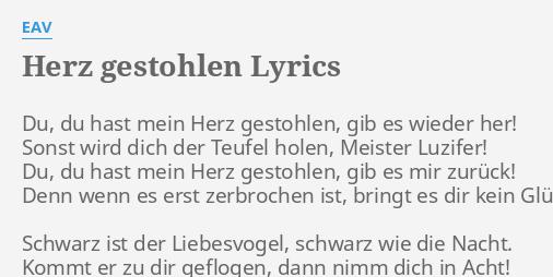Herz Gestohlen Lyrics By Eav Du Hast Mein