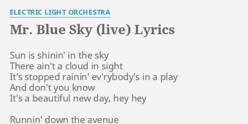 Mr Blue Sky Lyrics - etsy bild