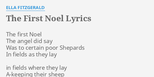 the first noel lyrics by ella fitzgerald the first noel the