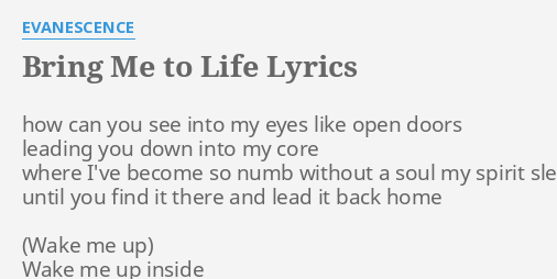 bring me to life lyrics by evanescence how can you see