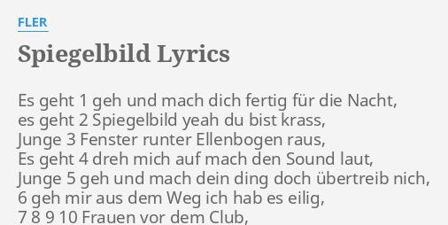 Spiegelbild Lyrics By Fler Es Geht 1 Geh