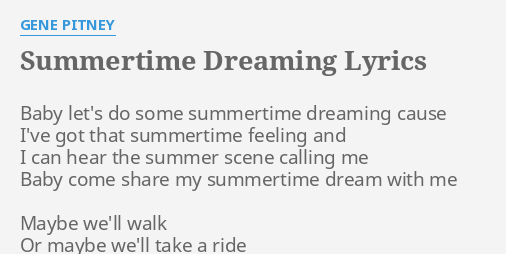 SUMMERTIME DREAMING
