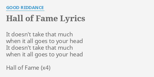 hall of fame lyrics