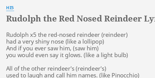rudolph the red nosed reindeer lyrics by hi5 rudolph x5 the red nosed
