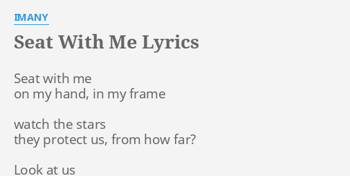 """SEAT WITH ME"""" LYRICS by IMANY: Seat with me on..."""