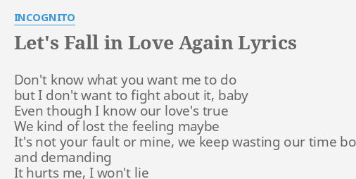I want to love again lyrics