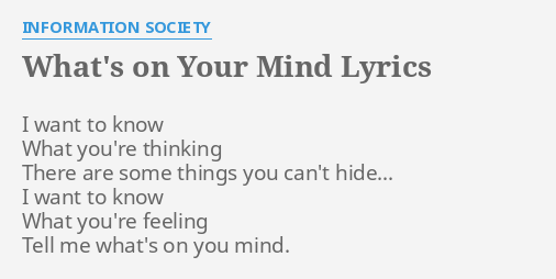 Lyrics i want to know what you re thinking