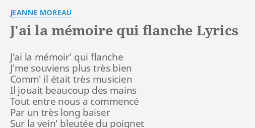 Mémoire qui flanche paroles