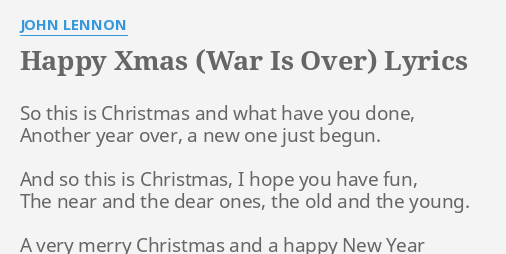 happy xmas war is over lyrics by john lennon so this is christmas