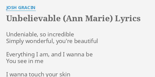 UNBELIEVABLE (ANN MARIE)
