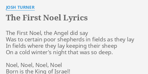the first noel lyrics by josh turner the first noel the