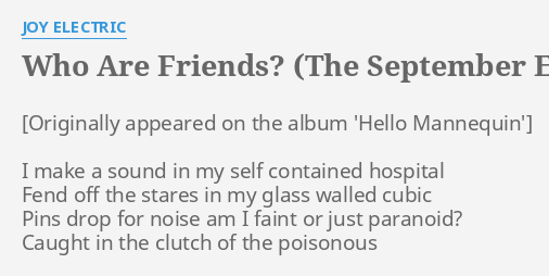 WHO ARE FRIENDS? (THE SEPTEMBER EQUATION REMIX)