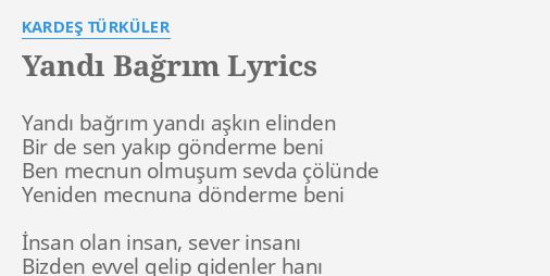 yandi bagrim lyrics by kardes turkuler