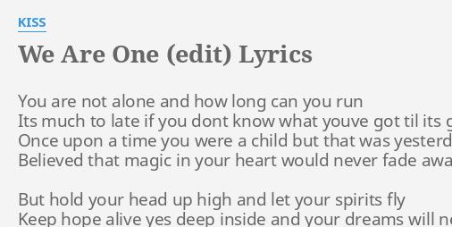 Kiss lyrics magic one KISS ME
