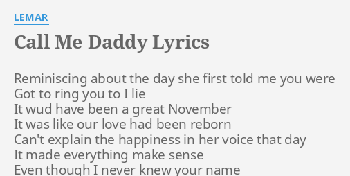 she call me daddy lyrics