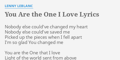 you are the one i love lyrics