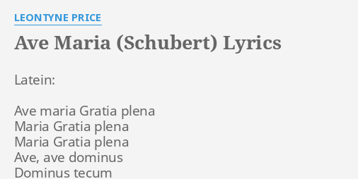 O Tannenbaum Latein.Ave Maria Schubert Lyrics By Leontyne Price Latein Ave Maria
