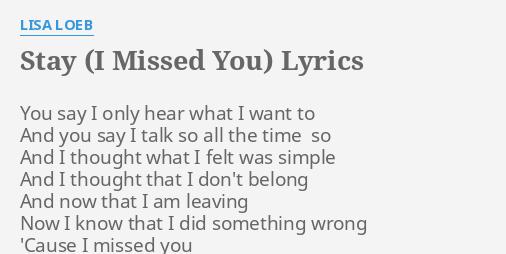 Lisa Loeb Stay Lyrics